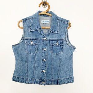 L.A. Blues Denim Button-up Vest Mid Wash XL #2804